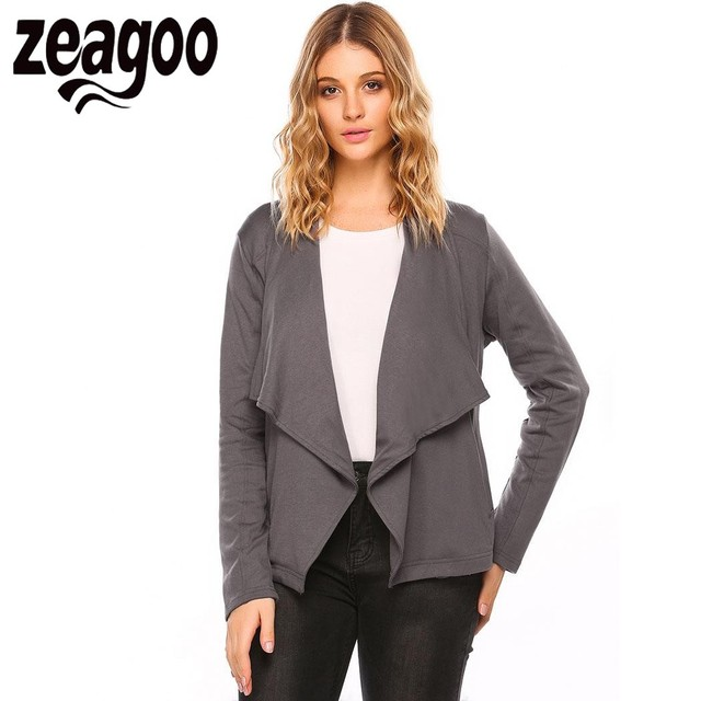 0837080aee5 Zeagoo 2018 Autumn Cardigan Sweater feminino Women s Wide Lapel Long Sleeve  Open Front Solid Casual Cardigan