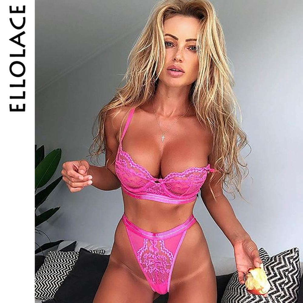 Ellolace Sexy Lace Mesh Lingerie Set Underwear 2 Piece Set Women Wireless Bralette Pink Transparent Hollow Out 6 Color Panty Set