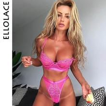 Ellolace Sexy Lace Mesh Lingerie Set Underwear 2 Piece Women Wireless Bralette Pink Transparent Hollow Out Bra and Panty