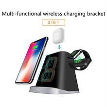 3 IN 1 For Apple Watch 1 2 3 4 Charger IPhone 8 Plus X XR XS AirPods Fast QI Wireless Charger For Samsung S9 S8 S7 Dock Station