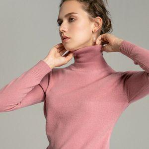 Image 2 - Tendência de Cores Das Mulheres Real de 100% Lã Merino Camisola de Gola Alta Pullover Costela Sólidos Blusas de Colarinho das Mulheres Knit Top Jumper Feminino