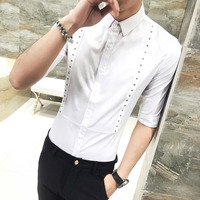Quality Summer Tuxedo Shirt Men Korean Slim Fit Casual Dress Shirts Mens Rivets Decor Half Sleeve