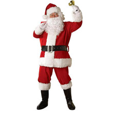 New Long sleeved Christmas Santa Claus Fancy Red Cosplay Costumes for Christmas