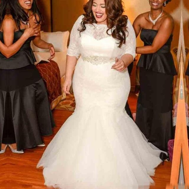 2017 Plus Size Mermaid Lace Wedding Dresses With Long Sleeve Vintage