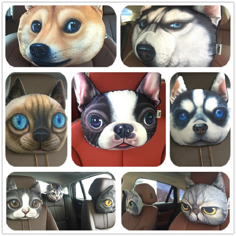 3D Lovely Dog Cat Animal Gift Car Headrest Activated Carbon Seat Covers Soft Neck Rest Cushion Safety Headrest Air Freshner