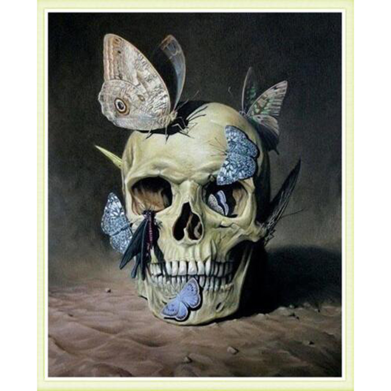 3D DIY Diamond Embroidery Skull And Butterfly Picture Of Crystals Mosaic Diamond Painting Hobbies And Crafts Home Decoration