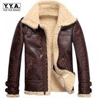High Quality New Brand Fashion Mens Vintage Leather Lamb Fur Fleece Bomber Flight Coats Male Winter Warm Fur Lining Zipper Coats