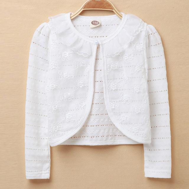 1d01ade879 2018 Baby Girls Outerwear 100% Cotton White Baby Girl Jacket Cardigan  Sweater For 12-