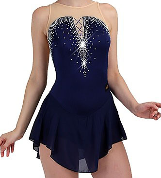 Blue Figure Skating Dress Ice Skating Skirt Spandex Women's girl's