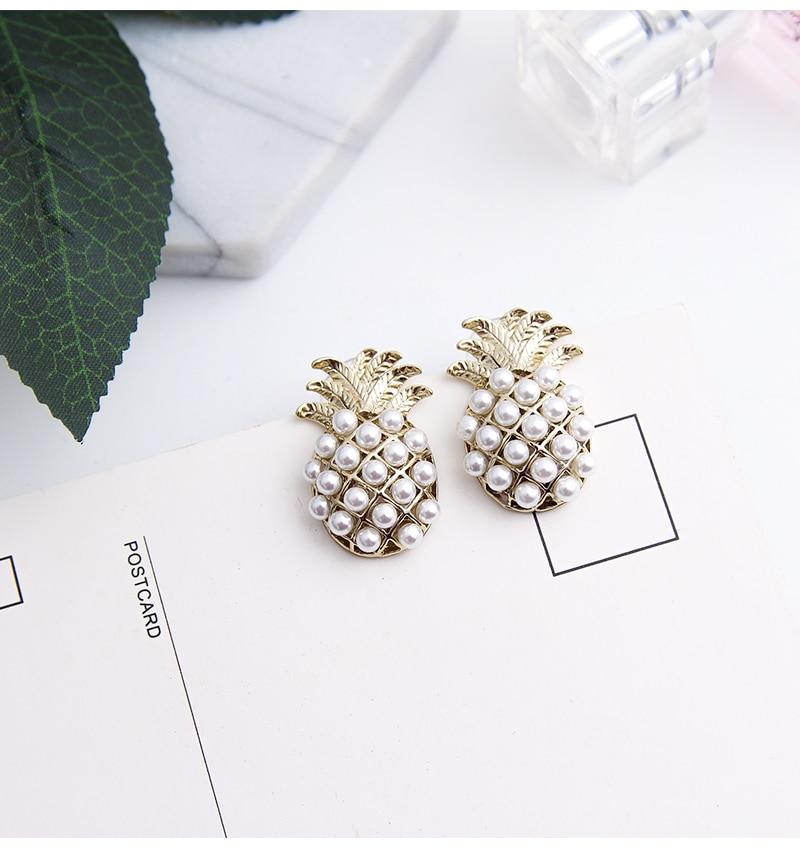 Women Pearls Pineapple Ear Stud Stud Earrings Fashion Jewelry Gift