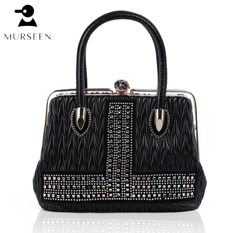MURSEEN Women Leather Handbags high quality luxury brand new 2018 Ladies Hot Medium PU leather Tote Bag Metal Frame opening metal ring pu leather tote bag