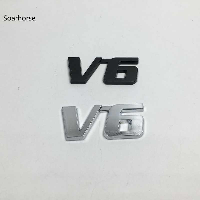 Soarhorse Metal Rear Trunk Lid Emblem Decal For Toyota V6 Car Fender Nameplate Sticker 2 pc free shipping rear sticker hilux off road decal for toyota hilux decals badges detailing sticker
