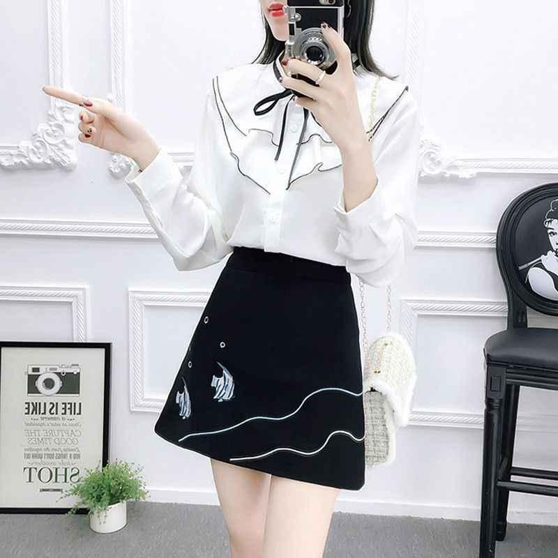 春秋の女性 2 点セット女性ブラウストップス + 花刺繍ミニスカートセット女子学生ヴィンテージ甘いスーツ f83