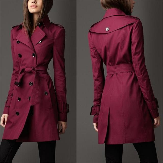 2015 europa elegante abrigo Trench delgado de moda doble de pecho Trench Coat Casual para mujeres más tamaño Roupas Feminina clásico caliente