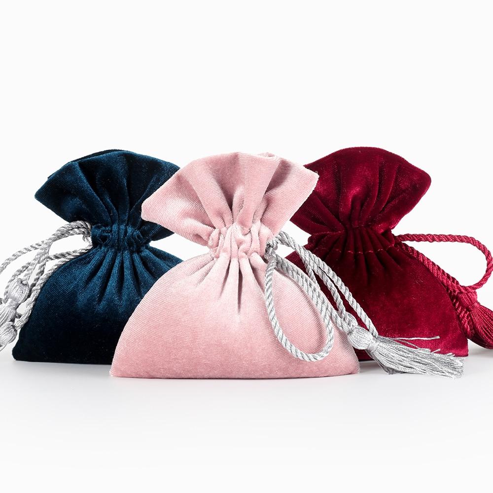 12*14cm Tassel Velvet Bag Drawstring Candy Pouch Packing Bags Wedding Gift Bag