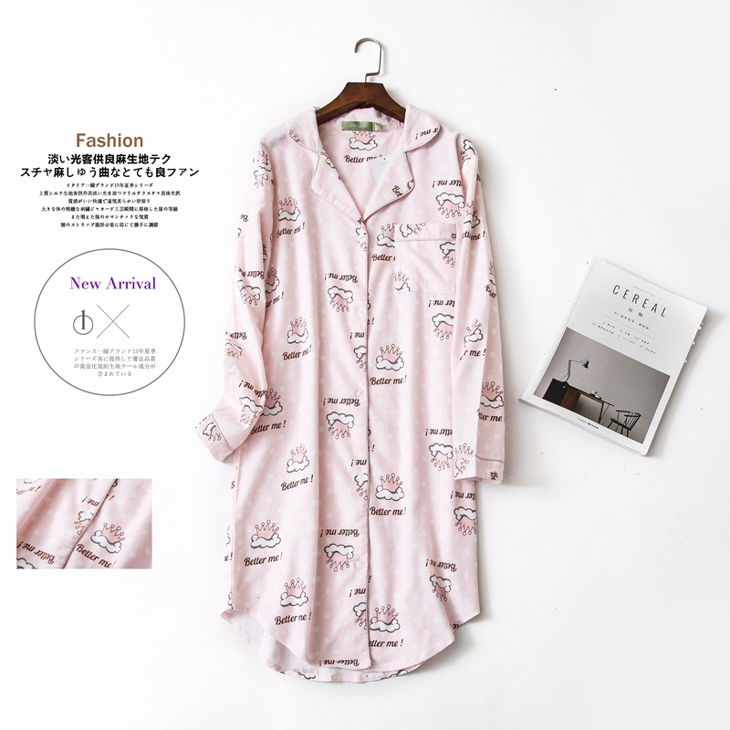 High quality nightdress Polka Dot   nightgown   women   sleepshirts   100% brushed cotton 2019 new Autumn cartoon Sleepwear night dress