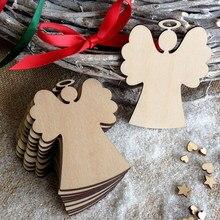 10 pçs em forma de anjo de madeira pingentes decoração da festa de natal diy anjo chips de madeira pendurado ornamentos para festa árvore de natal
