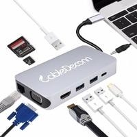 Thunderbolt 3 Hub USB Type c to RJ45 HDMI VGA USB3.0 Hub TF SD Slot USB C PD Female Portable Adapter Dock for Macbook Pro 2017