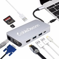 Thunderbolt 3 USB Type c to RJ45 HDMI 4K VGA USB3.0 Hub TF SD Slot USB C PD Female Portable Adapter Dock for Macbook Pro 2017