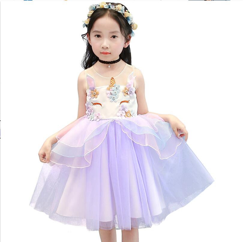 Kids Summer Unicorn Party Tutu Dress for Girls Embroidery Flower Ball Gown Baby Girl Princess Dresses Costumes Children Clothes summer girls new dresses baby sleeveless gown ball flower bowknot kids clothes children princess baby clothing girl dress