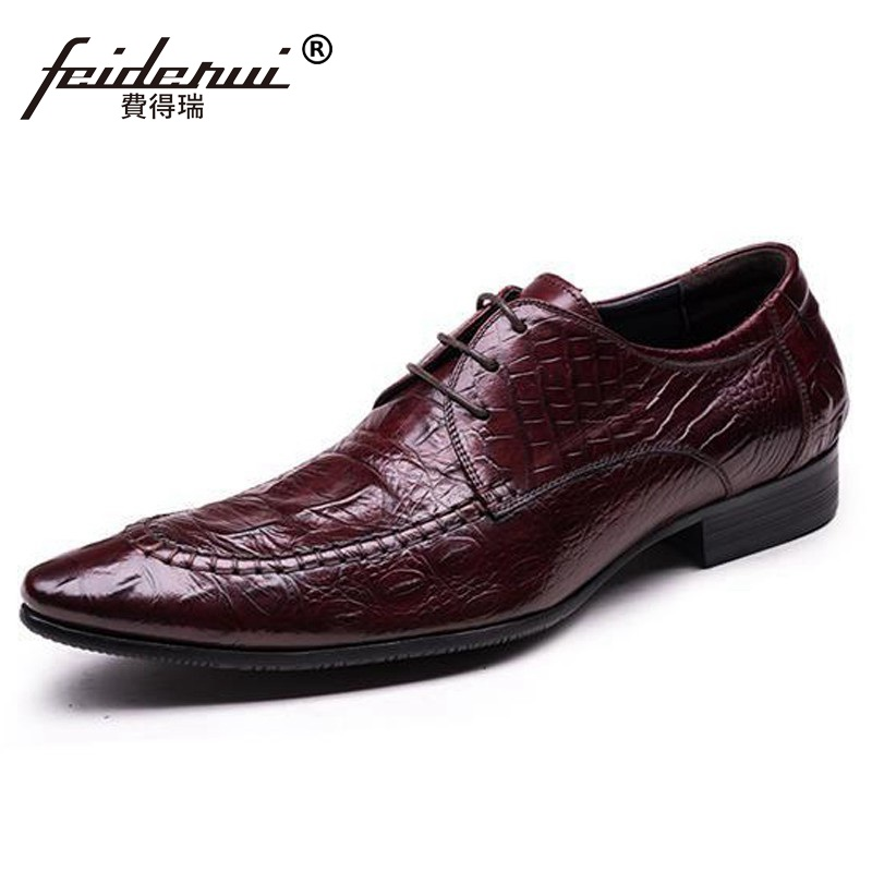 Luxury Brand Man Italian Formal Dress Shoes Genuine Leather Alligator Male Oxfords Top Quality Men's Wedding Bridal Flats DF63 natural stone cobblestone foot massage pad foot massage device stone pad blanket mat plate