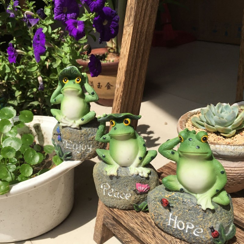 Cute Frog Decorative Stone Garden Statues And Ornaments Outdoor Lawn Yard  Cartoon Animal Gnome Art Accessories And Decor Accents In Yard U0026 Garden  Decor From ...
