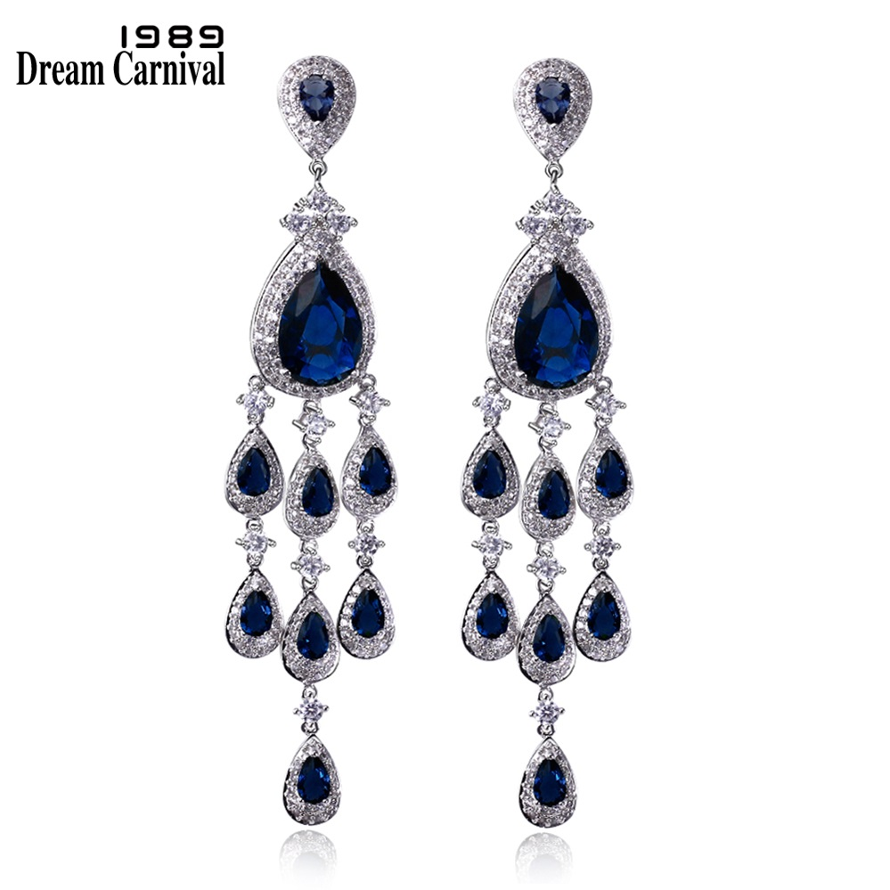 DreamCarnival 1989 Luxury Grand Design Metal Dangles Blue Red Green Black CZ Crystals Pendientes Wedding Party Long Earrings