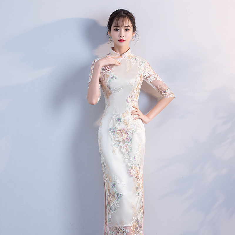 Wedding Party Cheongsam Oriental Evening Dress Chinese Traditional Women Elegant Qipao Sexy Long Robe Retro Vestido S M L XL XXL-in Cheongsams from Novelty & Special Use    3