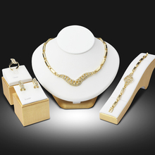 Dubai Gold Plated Jewelry Sets Nigerian Wedding African Beads Crystal Bridal Jewellery Set Rhinestone Ethiopian Jewelry