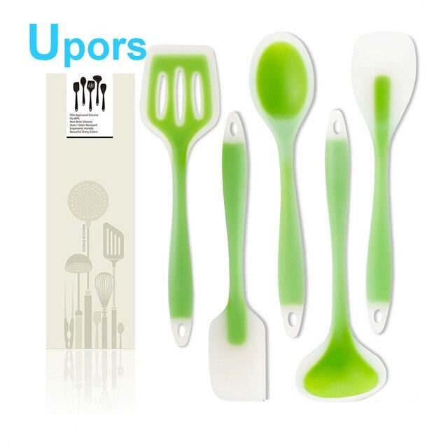 Silicone Kitchen Utensils 5pcs/set Kitchen Cooking Utensil Set Scraper  Shovel Spoon Soup Salad Dense