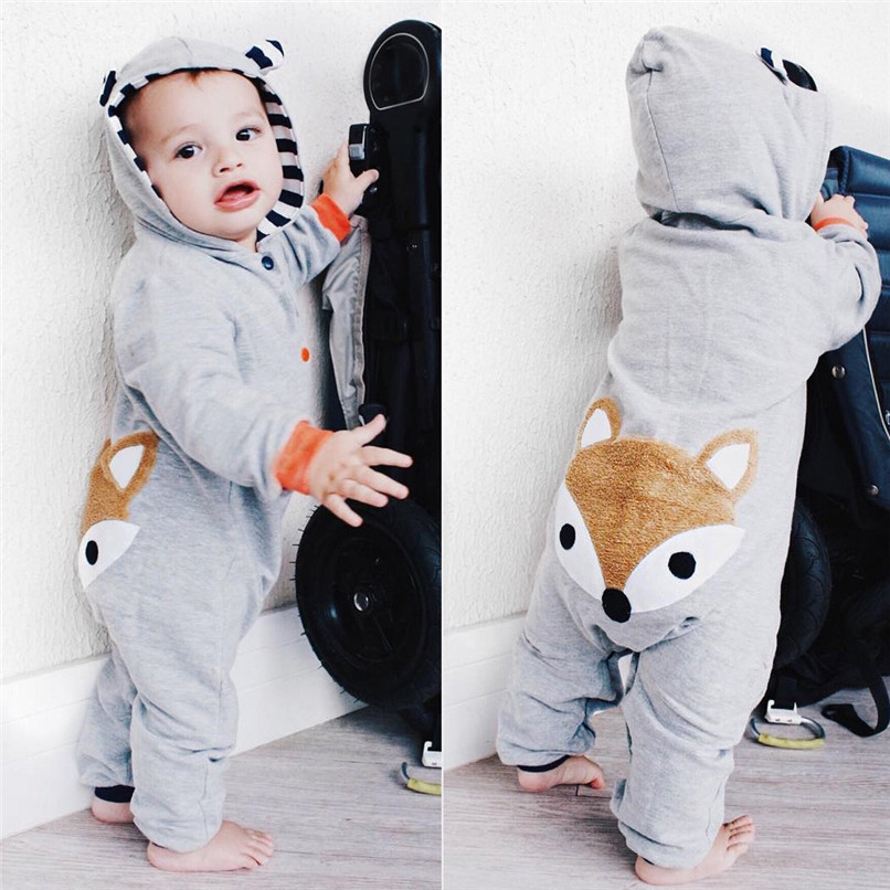 2018 Winter Babys Clothes Toddler Infant Baby Boys Girls Fox Print Long Sleeve Stripe Hooded Jumpsuit Romper Clothes JY26#F (4)