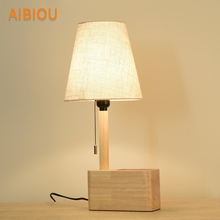 AIBIOU Nordic LED Table Lamps With Cloth Lampshade For Living Room E27 Wooden Reading Luminaire Wood Bedside Desk Lights цена в Москве и Питере