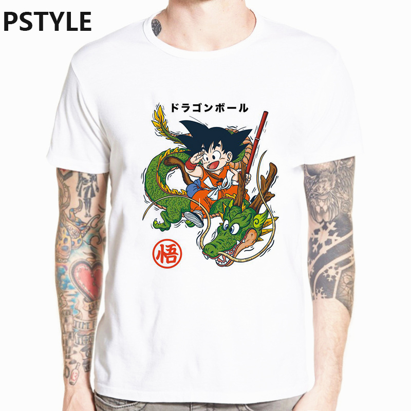 Dragon Ball Men 39 s T Shirt Summer Short Sleeve Anime Design Funny T Shirts Goke Super Saiyan Print Homme White Basic Tee Tops in T Shirts from Men 39 s Clothing