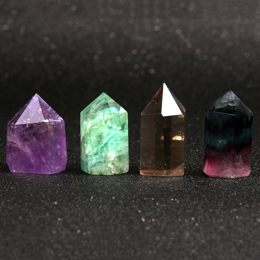 1.5inches Assorted Natural Fluorite Sceptre Smoke quartz Points Wand Chakra Healing Crystal Reiki Stone Carved Crafts Free pouch