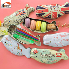 CUSHAWFAMILY Novelty fish shape iron box Tea candy storage seal box wedding favor tin box Jewelry Pill Cases portable container