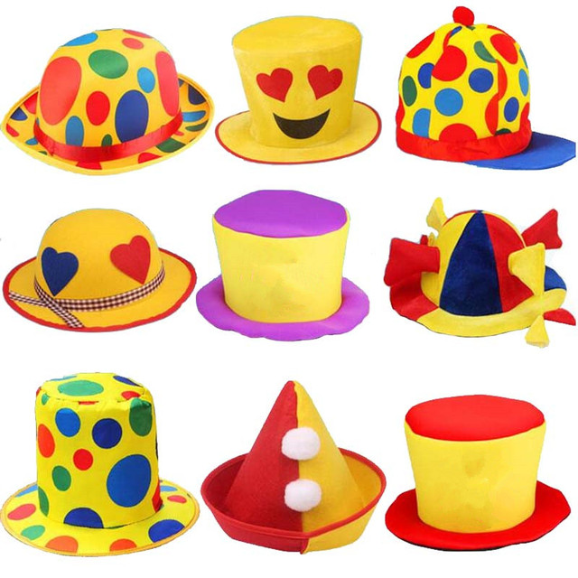 funny clown hat men women stage performance costume head accessories adults halloween carnival party hats