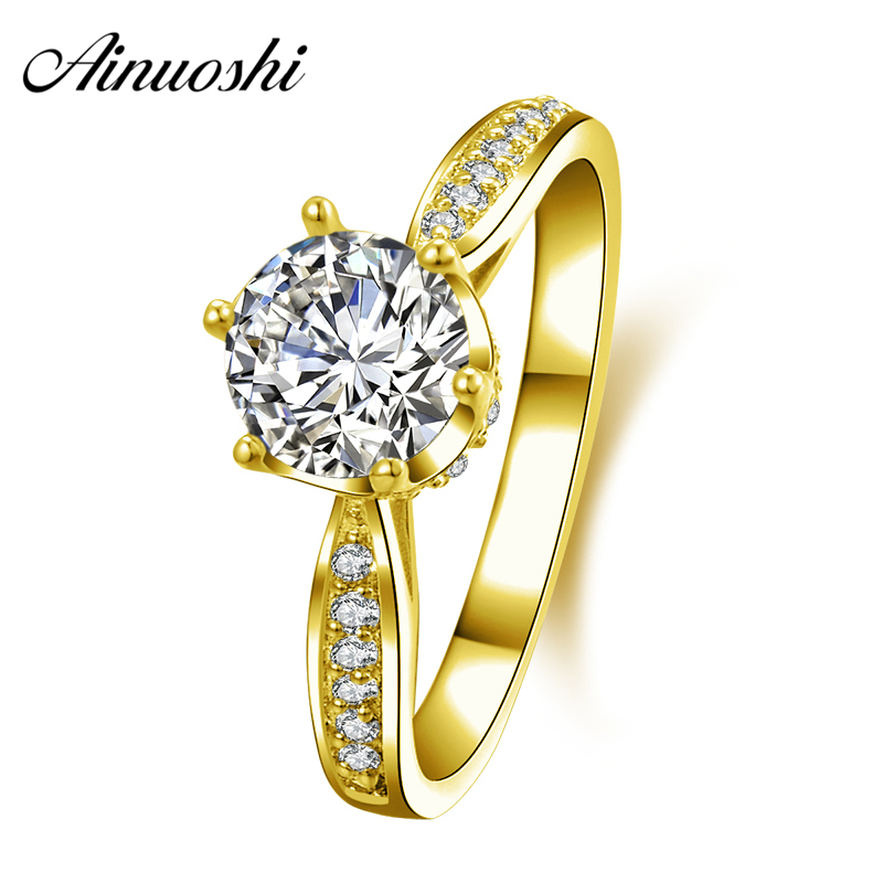AINUOSHI 10K Solid Yellow Gold Wedding Ring 1 ct 6 Claws Round Cut Sona Simulated Diamond Jewelry Women Engagement Rings Bijoux ainuoshi 10k solid yellow solid gold luxury wedding ring 2 carat round cut simulated sona diamond jewelry women engagement rings