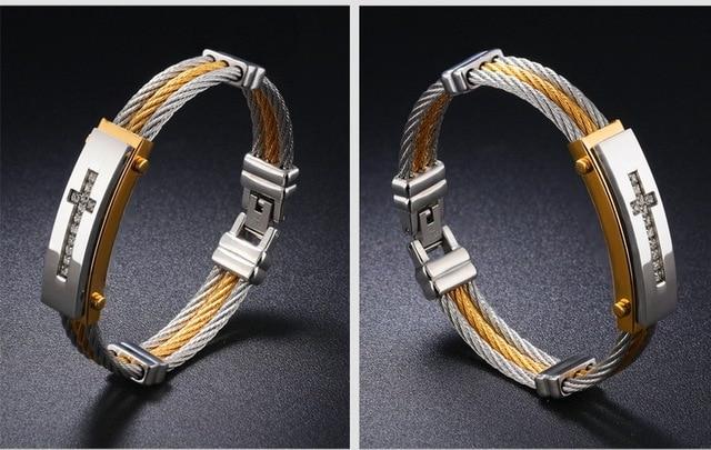 Фото модный мужской браслет 316l титановая сталь три ряда проволоки цена