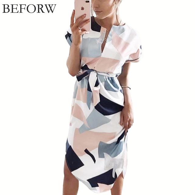 BEFORW Summer Dress Fahsion Multicolor Printing Women Dresses High Quality V Neck Long Dress Casual Beach Maxi dress Vestidos