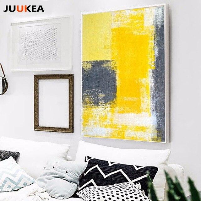 2017 triptyque moderne abstraite pop jaune gris minimaliste d u00e9coration toile peinture mur photo