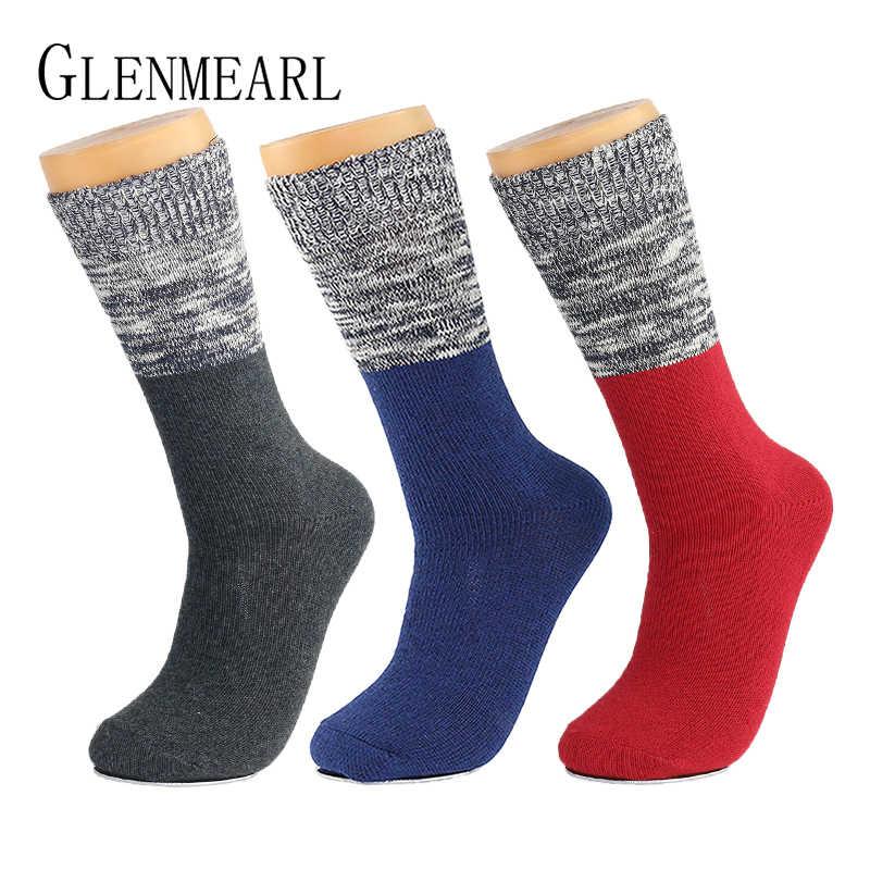 ถุงเท้าผู้ชายฝ้ายยี่ห้อธุรกิจฤดูใบไม้ผลิสบายๆฤดูหนาว Warm Plus ขนาดหนา Coolmax การบีบอัดข้อเท้า Boot ถุงเท้าชาย