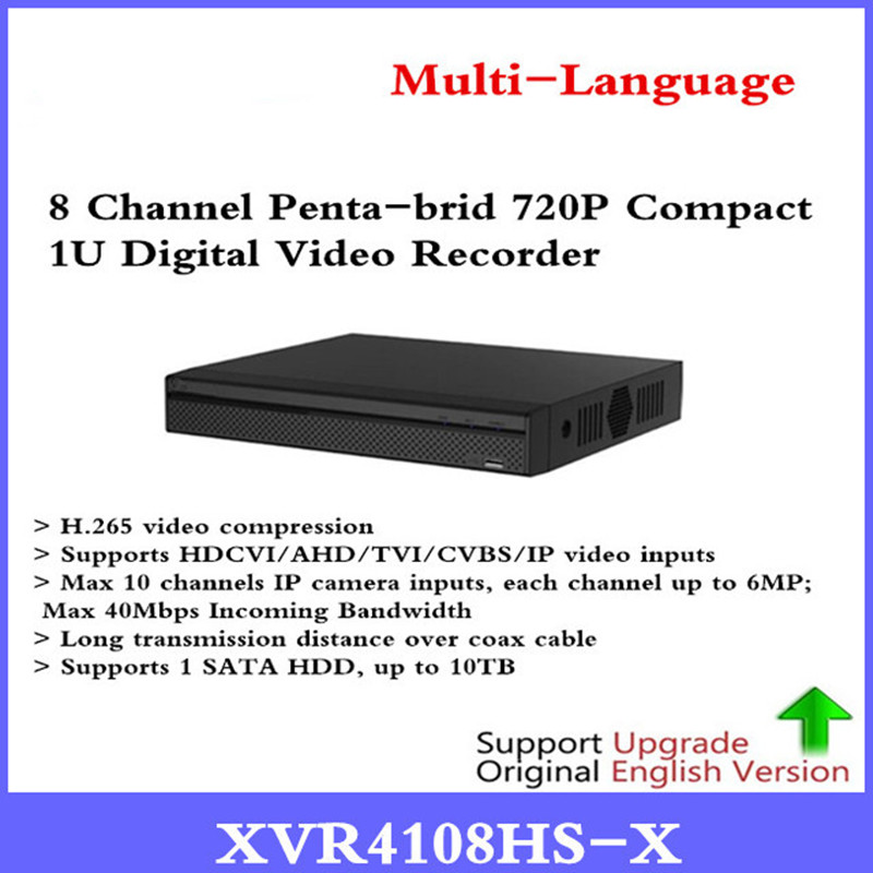 DH Multi-Language DVR XVR 8 CH Penta-brid 720P Compact 1U Digital Video Recorder Supports HDCVI/AHD/TVI/CVBS/IP XVR4108HS-X dahua xvr video recorder 16ch 1080p replace nvr and dvr dh xvr7216an p2p support hdcvi ahd tvi cvbs ip 1u digital video recor
