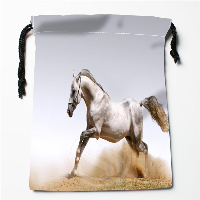 Tunnelzug Taschen Unparteiisch U-1 Neue Schöne Weiße Pferde Logo Bedruckte Empfangen Beutel Tasche Kompression Typ Kordelzug Taschen Größe 18x22 Cm U801! Funktionale Taschen Q1