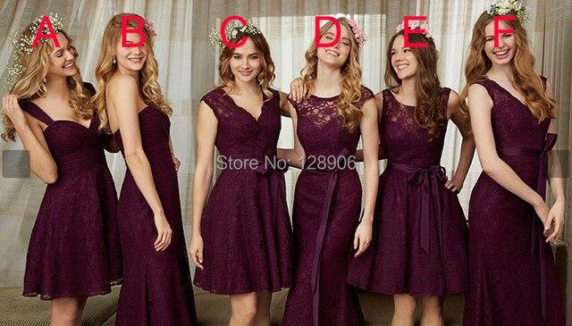 Latest Burgundy Bridesmaid Dresses 2017 Y V Neck Lace Party Dress With Belt Mini Wedding