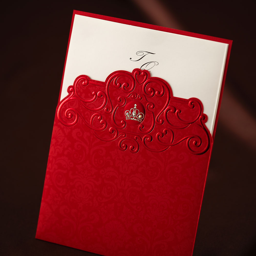 Classic Red Crown Emboss Birthday/Business Wedding Invitation Card ...