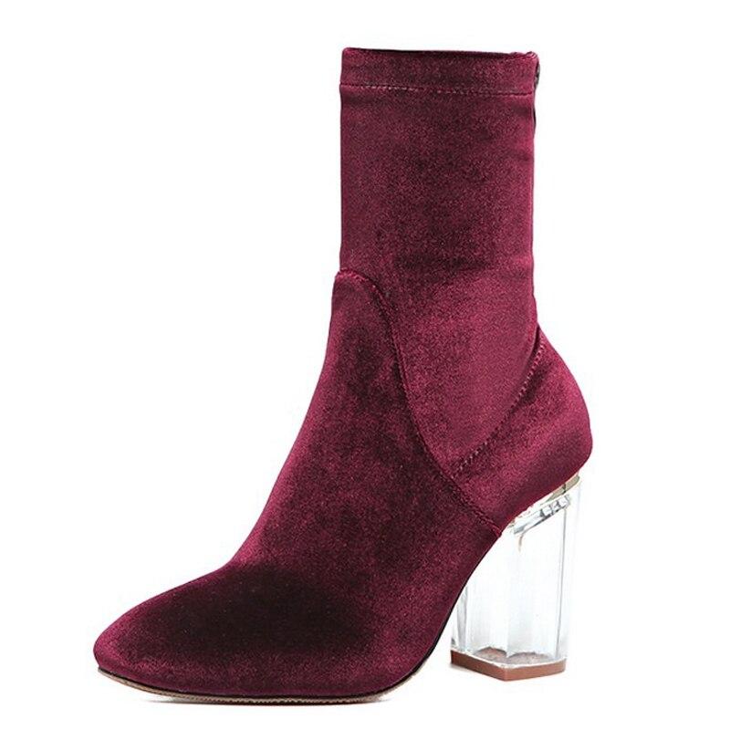 Sapatos da moda Claro Transparente Bloco de Salto Alto Botas De Veludo Mulheres Primavera Outono Inverno Bootie Streetwear Borgonha Verde Azul(China (Mainland))