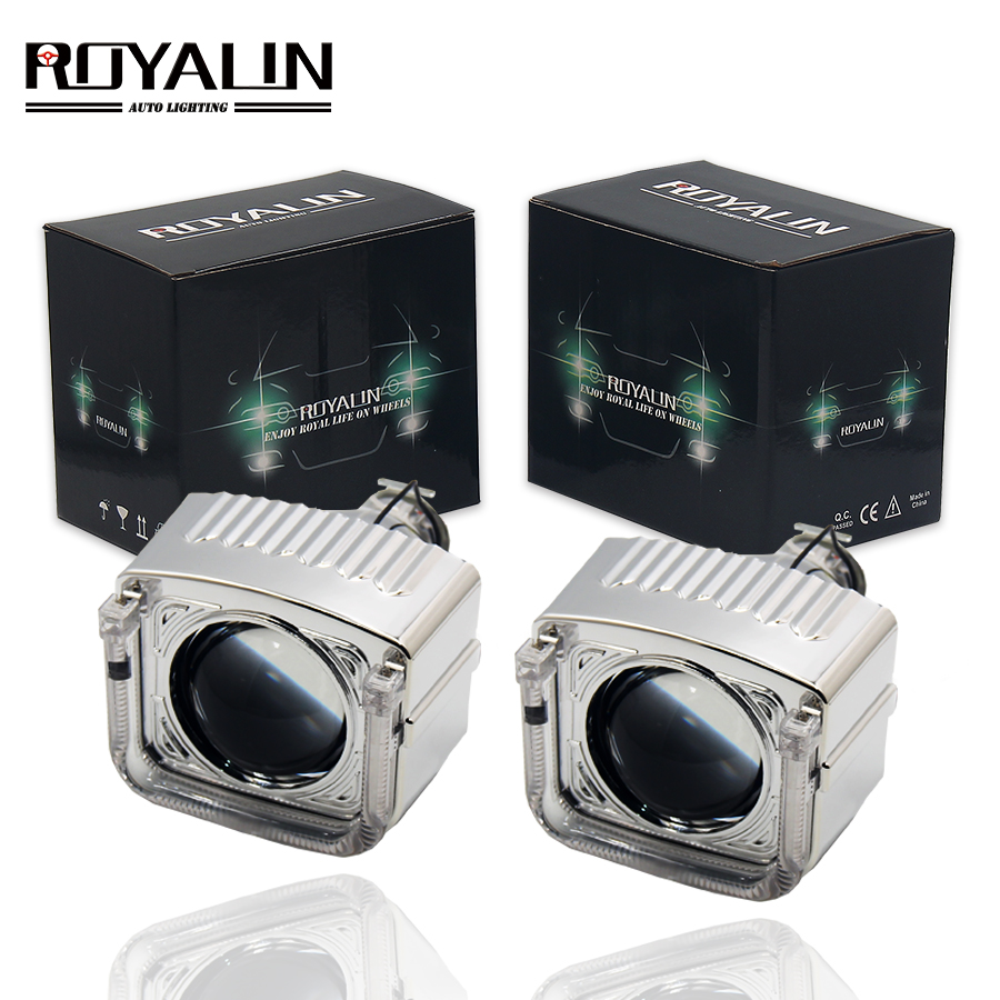 ROYALIN Mini HID Projector Bixenon Lens H1 Car Styling DRL Angel Eyes For H1 H4 H7