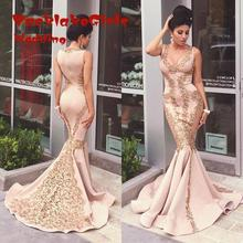 Evening Dress Arabic Mermaid 2017 V Neck Sleeveless Stretch Lace Dubai Prom Gown Satin Sweep Train Party Custom Made Dresses