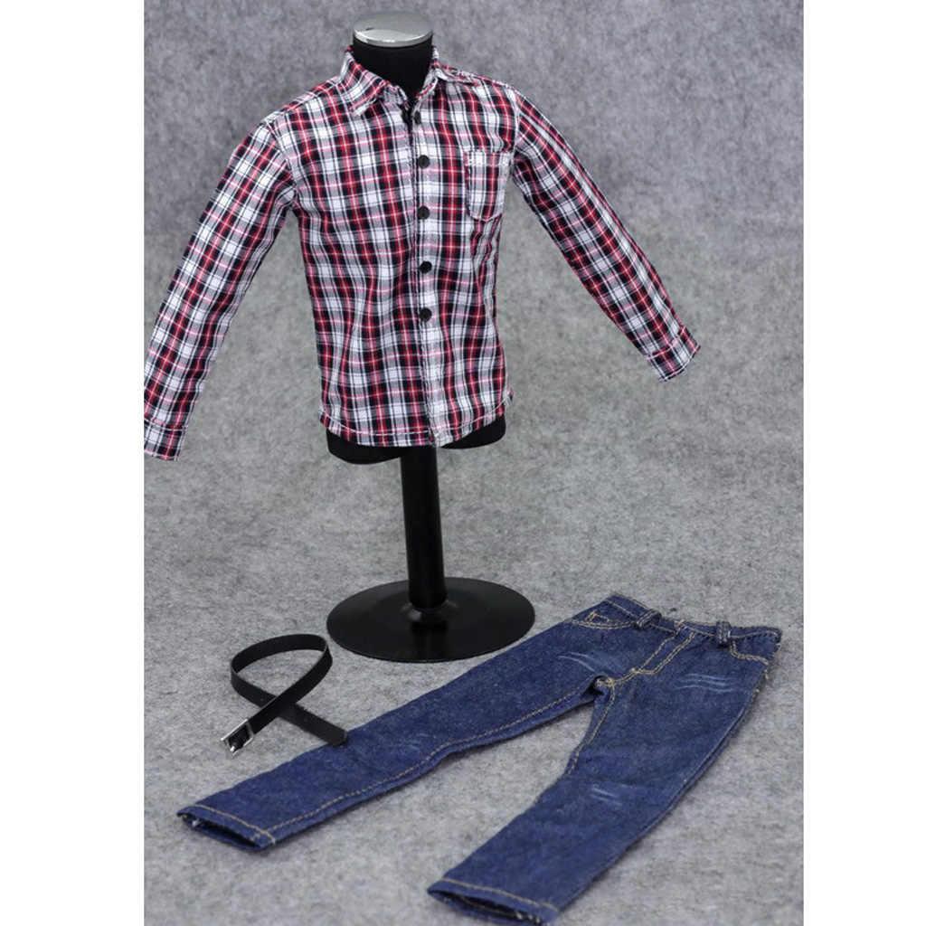 1/6 스케일 남성 의류 12 인치 액션 피규어 붉은 격자 무늬 긴 소매 셔츠 청바지 정장 인형 캐주얼 멋진 의상 의류 세트
