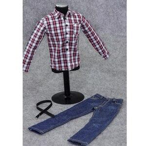 Image 2 - 1/6 Scale ชายเสื้อผ้าสำหรับรูปแอ็คชันขนาด 12 นิ้วสีแดงแขนยาวลายสก๊อตเสื้อกางเกงยีนส์ชุดตุ๊กตาสบายๆชุดเย็นชุดเสื้อผ้า